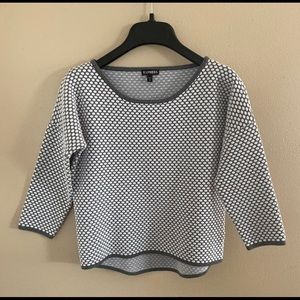 Express Grey and White Sweater Small